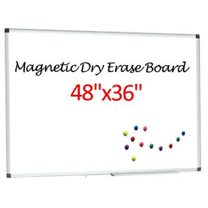 48 x36 Magnetic Dry Erase Board Single Side Writing Whiteboard Office Home