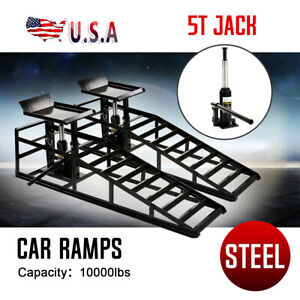 Pair Hydraulic Vehicle Ramps 10 000lb capacity Portable Car Repair Us Stock