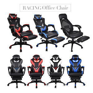 Ergonomic Gaming Chair High Back Recliner Adjustable Swivel Footrest Office Seat