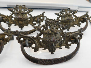 5 Antique Pressed Brass Drawer Handles Pulls Dresser Hardware Ornate Lion Face