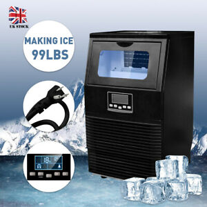 Black 99lbs Commercial Ice Maker Machines Cube Stainless Steel Bar Restaurant Us
