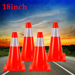 18 Road Traffic Cones Reflective Collar Strip Overlap Parking Safety Cone 4pcs