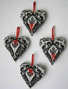 Set Of 4 Black White Heart Christmas Ornies Handmade Tuck Filigree Pattern