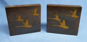Rare Vintage Silver Crest Bronze Bookends Flying Geese Ducks 308 L Metal Arts