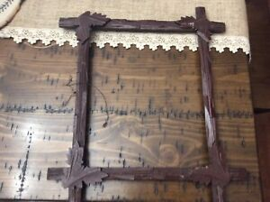 Antique Adirondack Picture Frame Tramp Art Wooden Carved Leaves 1800 S 13 X 15