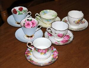 Collection Of 6 English Fine Bone China Cups Saucers Lot 2