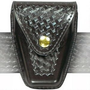 Safariland 190h 4b Black Basketweave Brass Snap Top Flap Hinged Handcuff Pouch
