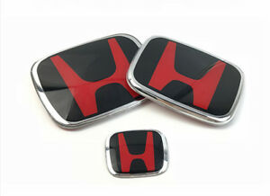 Fit For 16 18 Honda Civic Sedan 4 Door3pcs Front rear steering Jdm Red H Emblem