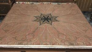 Antique Asian Indian 19th Century Kashmir Wool Shawl Paisley 75 By 75