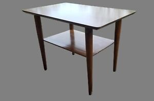 Vintage Mid Century Solid Wood Danish Style Two Tiered Accent Table