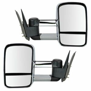 Towing Mirror Manual Chrome Pair Set For Chevy Gmc Pickup Truck Suv New