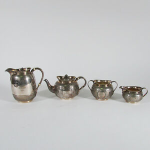 4 Pc Antique English Elkington Silver Plate Tea And Coffee Set 19th C Engraved