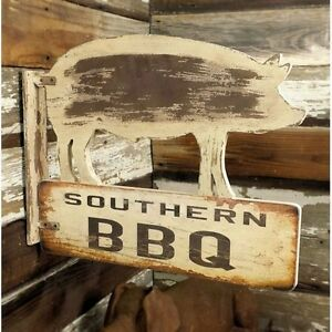 Southern Bbq Wood Sign double Sided distressed Handmade
