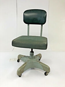 Vintage Industrial Chair Desk Office Swivel Tanker Mid Century Modern Loft Green
