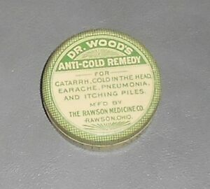 C1920 Antique Medical Tin Dr Wood S Anti Cold Remedy For Catarrh Rawson Oh