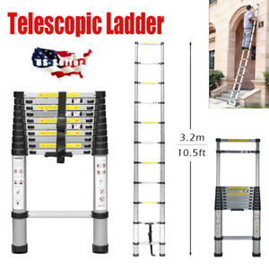 10 5ft Telescopic Extension Aluminum Step Ladder Folding Multi Purpose 11 Steps