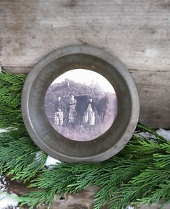Small Antique Dark Tin Pie Pan With Old Photo Print Pioneer Women And Horse