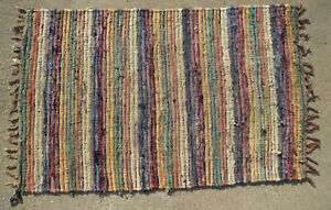 Beautiful Vintage Primitive Style Woven Rag Rug Blue Pink Tan Etc 42 X 64