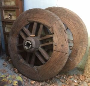 Antique Indian Ox Cart Wagon Wheel Large Heavy Wood Metal Rim
