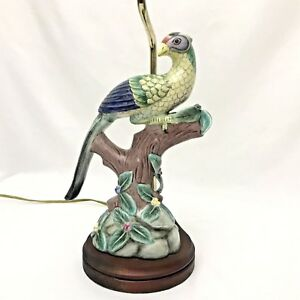 Vintage Bird Porcelain Figurine Table Lamp Tropical Multi Color