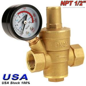 Npt 1 2 Brass Water Pressure Regulator Valve Pn1 6 With Dual Scale Gauge Set