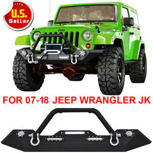 Black Textured Front Bumper W Winch Plateled Lights For 07 18 Jeep Wrangler Jk X