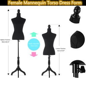 34 26 35 Female Mannequin Torso Dress Form With Black Wood Tripod Stand