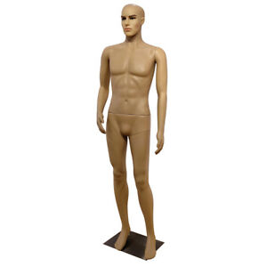 6ft Male Mannequin Make up Manikin Metal Stand Plastic Full Body Realistic 183cm