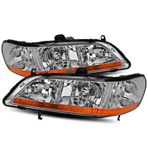 For 1998 2002 Honda Civic Coupe Sedan Chrome Crystal Headlights Replacement Set