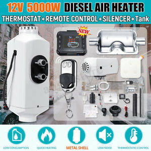 12v 5kw Diesel Air Heater 4 Hole All In One Lcd Thermostat F Trailer Truck Boat
