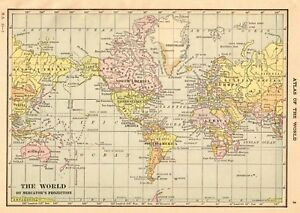 1916 Antique Map Of The World Vintage World Map Gallery Wall Art Smap 6218