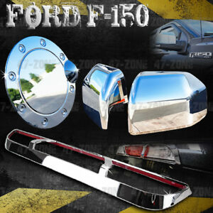 For 18 F 150 Chrome Top Half Mirror Cover Gas Door Cover 3rd Brake Light Cover