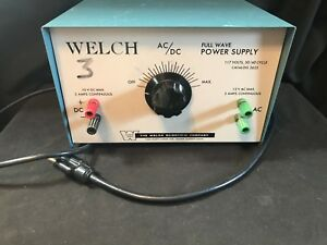 Welch Scientific Ac Dc Full Wave Power Supply 2625 Working a