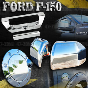 For 16 Ford F 150 Chrome Half Mirror Cover Gas Door Cover Tailgate Handle Cover