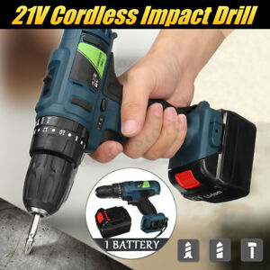 21v Cordless Impact Drill Rechargeable Hammer Electric Screwdriver Li battery