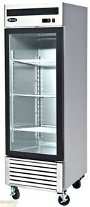 27 Freezer Restaurant Single Glass Door Reach in At 21 Cu Ft Auto defrost New