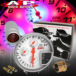 For Benz Lotus White Face 5 Jdm Racing Gauge Cluster Tach Oil Water Temp Kit