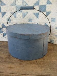 Lg Early Antique Pantry Box W Bail Handle Blue Milk Paint Fitzwilliam Nh