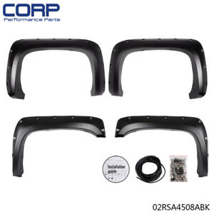 For 07 13 Chevy Silverado 1500 2500hd 3500hd Black Pocket Rivet Fender Flares