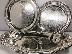 Ornate Sheridan Silverplate Trophy Serving Tray Platter Lot