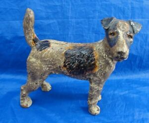Antique Hubley Cast Iron Fox Terrier Dog Doorstop Airedale Wire Haired Standing