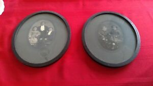 2 Vintage Antique Photos Oval Matching Wood Frames Chippy Shabby Chic 1900s