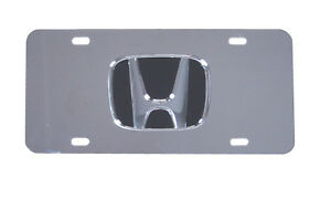 Honda Emblem License Plate Tag Chrome Logo Stainless Steel Plate