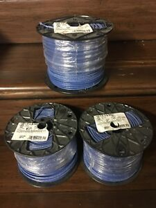 New Roll Of 12 Awg Stranded Thhn Copper Electrical Wire Blue 500ft