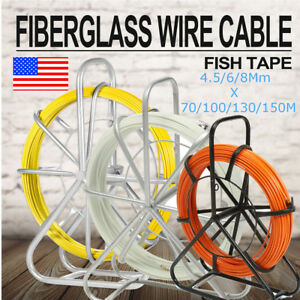 6mm130m Fish Tape Fiberglass Wire Cable Running Rod Duct Rodder Puller 16kg