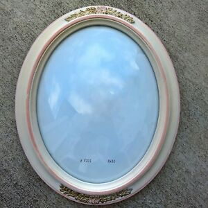 8 X 10 Ornate Wood Oval Picture Frame With Convex Glass 8x10 Vintage White