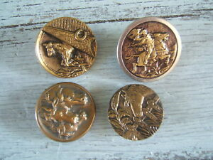 Lot Of 4 Antique Victorian Brass Picture Buttons Horse Equestrian 1 To 1 1 4