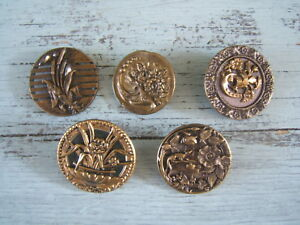 Lot Of 5 Antique Victorian Brass Picture Buttons Flowers Large 1 1 4 To 1 3 8