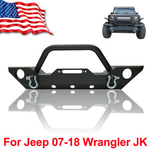 For 87 06 Jeep Wrangler Tj Yj Textured Black Front Bumper W Winch Plate D Ring F