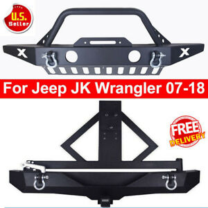Black Front Bumper Skid Plate W Winch Plate D Rings For 07 18 Jeep Wrangler Jk P